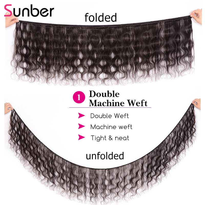 Sunber 毛ブラジル実体波人間の髪のバンドル 3/4 ピース自然な色ダブル横糸レミーヘア織りバンドル 8  30 インチ  グループ上の ヘアエクステンション & ウィッグ からの ヘアウィーブ の中 2