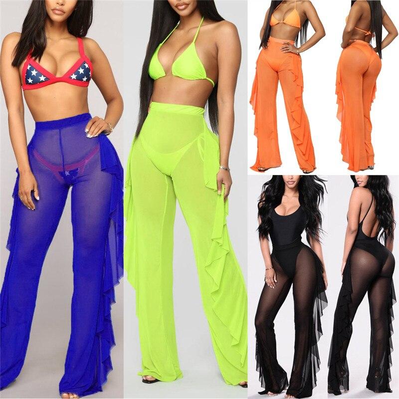 Womens Beach Mesh Sheer Wide Leg   Pants   Ladies Bikini Cover Up Flared Trousers