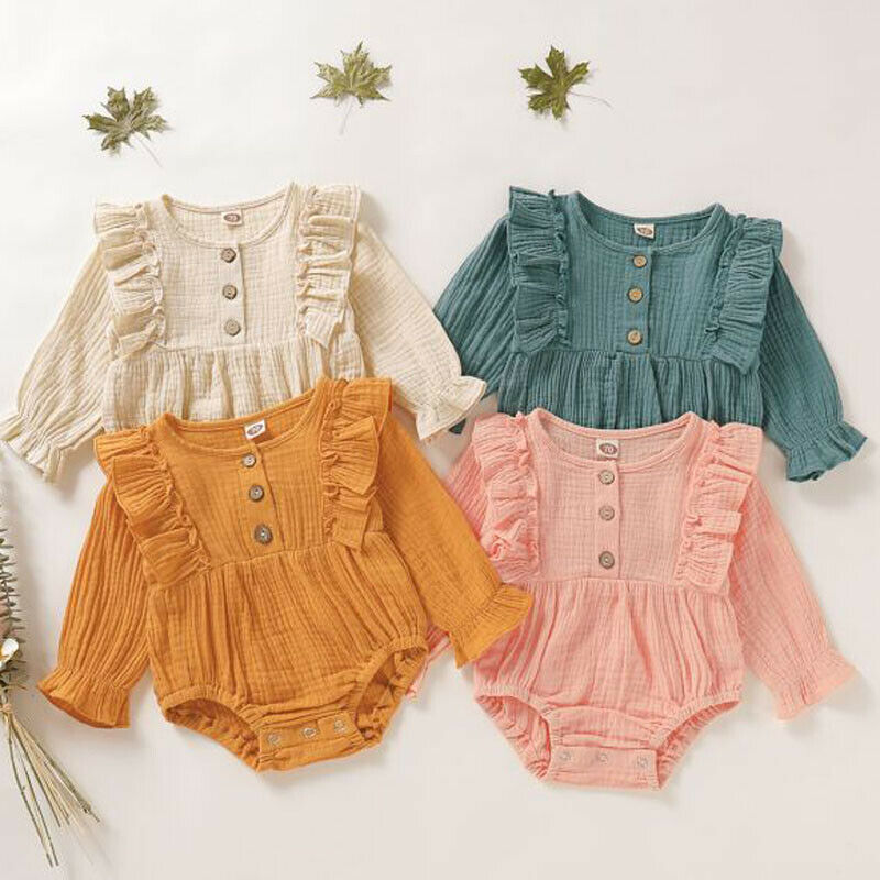 Solid Ruffle Long Sleeve Newborn Baby Girl Bodysuit Infant Body Bebe