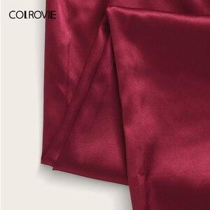 Image 5 - COLROVIE פרחוני תחרת Bralette עם סאטן מכנסיים 2019 קיץ ארוך סטי מוצק סקסי פיג מה נשים הלבשת גבירותיי פיג מות סט
