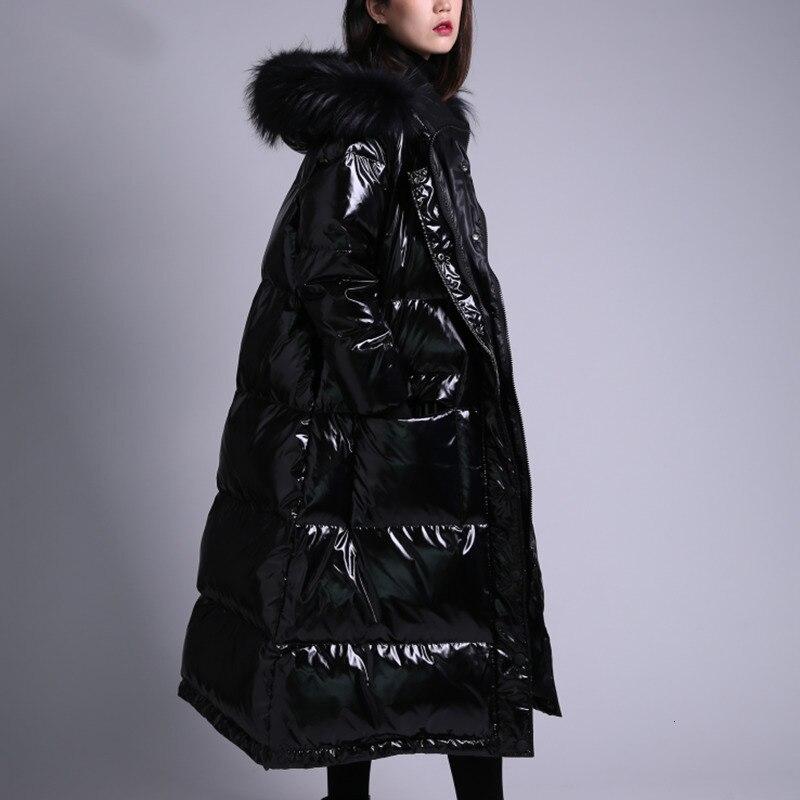 2019 x long 90% duvet manteau à capuche avec véritable col de fourrure hiver chaud veste femmes épais imperméable femme Parka bouffante neige Outwear - 3