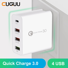 48W Multi Quick Charge Type C USB Charger For Samsung For iPhone Huawei Tablet QC 3.0 Fast Wall Charger US EU UK AU Plug Adapter quick charge 3 0 usb charger travel for iphone samsung micro usb type c fast charging 3 ports eu us plug mobile phone charge