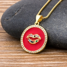 Classic Red Lips Necklace Micro Pave Cubic Zirconia Gold Necklace Pendant Copper CZ Rainbow Stone Chain Jewelry Gift For Women
