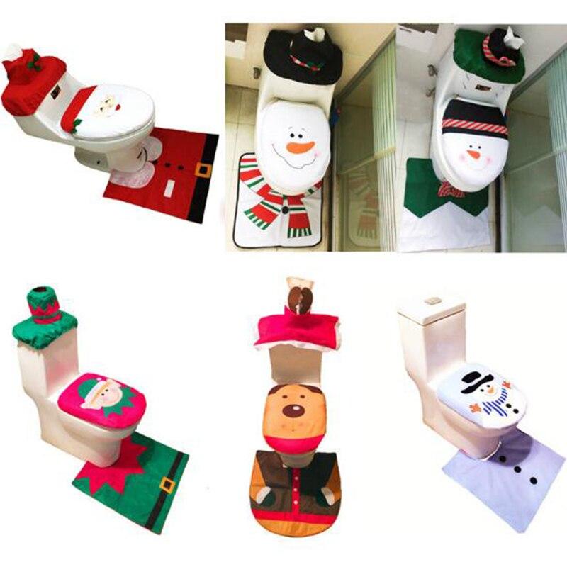 화장실 발 패드 좌석 덮개 모자 크리스마스 훈장 행복한 산타 변기 덮개 및 깔개 목욕탕 부속품 산타 클로스 1 set