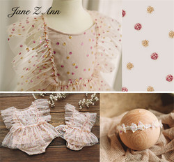 Пастель в горошек Чистая Пряжа платье принцессы 100 дней 1 год для маленьких девочек фото одежды для новорожденных Фотография Опоры