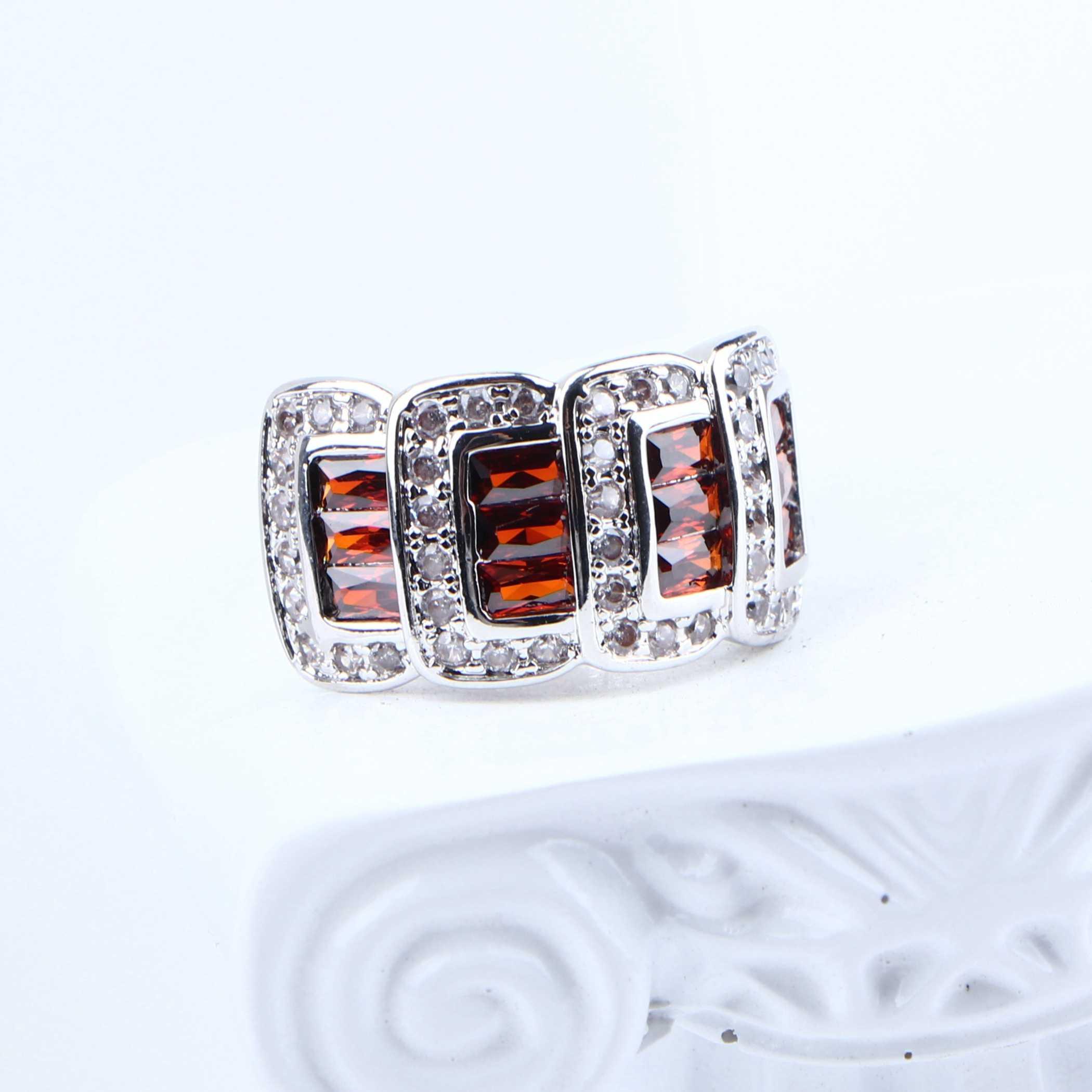 נשים תלבושות יוקרה כלה תכשיטי סטי חתונה כסף 925 זירקון תכשיטי תליון צמיד טבעת עגילי שרשרת סט אריזת מתנה