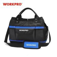 """WORKPRO 15 """"أداة حقيبة التخزين واسعة الفم مجموعة أدوات حقيبة 1680D مقاوم للماء أداة منظم سعة كبيرة"""