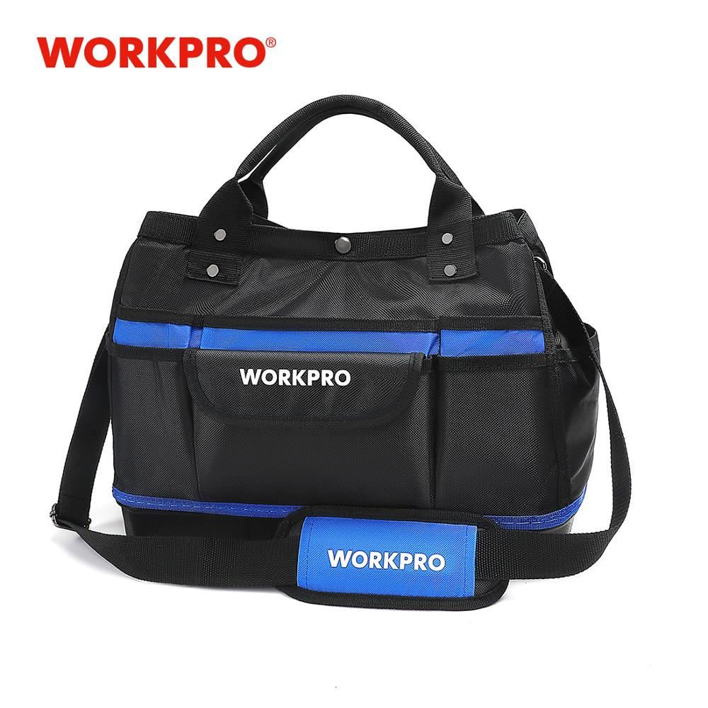 "WORKPRO 15"" Tool Storage Bag Wide Mouth Tool Kit Bag 1680D Waterproof Large Capacity Tool Organizer"