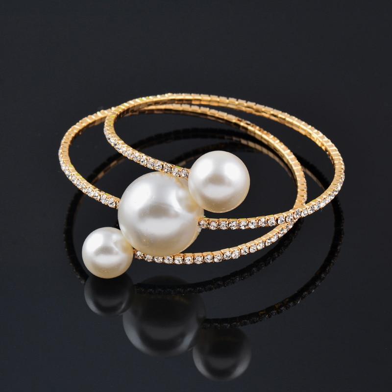 SINLEERY Wedding Jewelry Sets Big Pearl Multilayer Bracelet Bangle Rings Set For Women Gold Color TZ198 SSP
