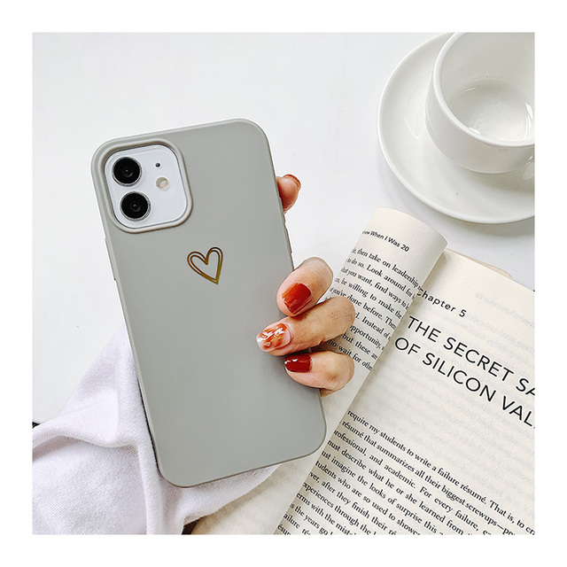 Gold Love Heart Phone Case for IPhone12 Pro Max XR 7 6 8 Plus Solid Color Cover for Iphone11promax Xs Max Soft TPU Mini Capa 3