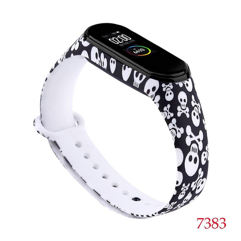 Для Xiaomi Mi Band 4/3 ремешок Металлическая пряжка силиконовый браслет аксессуары miband 3 браслет Miband 4 ремешок для часов М - Цвет: 7383