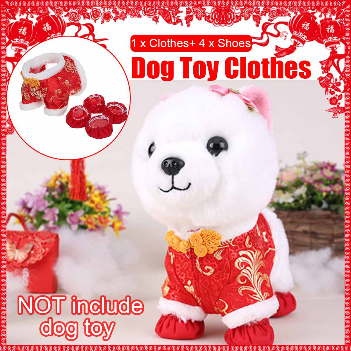 5PCS Pet Dog New Year Clothes Party Costume Chinese Tang Dynasty Dress Festival Costume With Cute Red Shoes For Puppy/Robot Dog