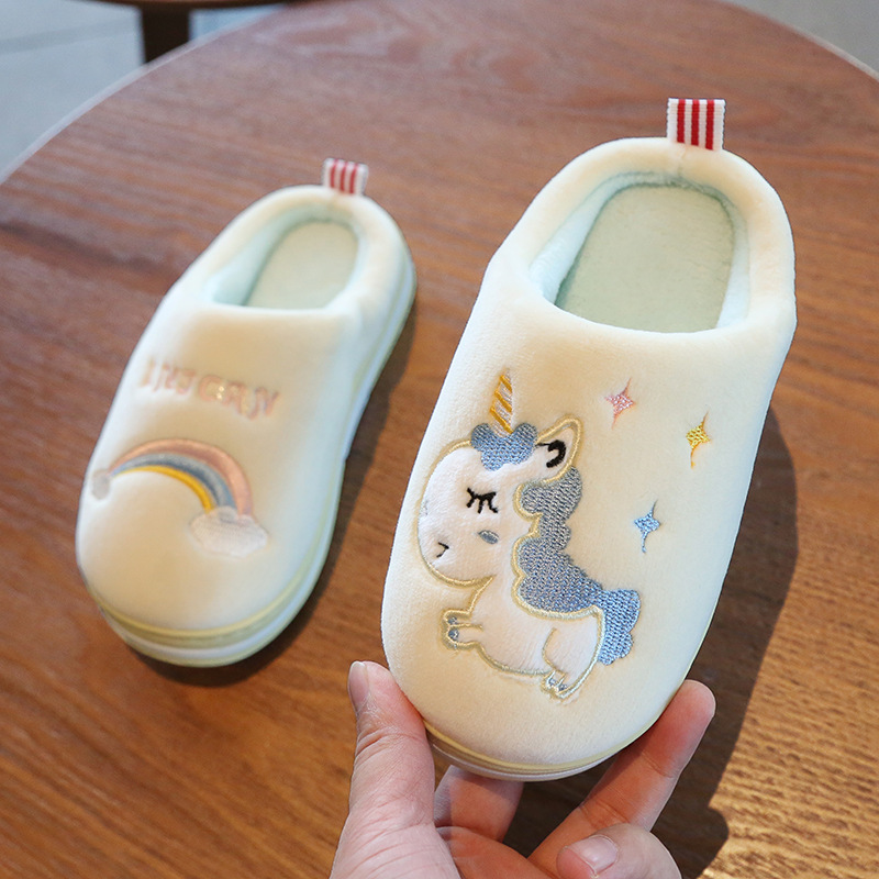 Suihyung Kids Cartoon Unicorn Slippers Winter Warm Non-slip Home Slippers Indoor Shoes Boys Girls Slides Children Plush Slippers