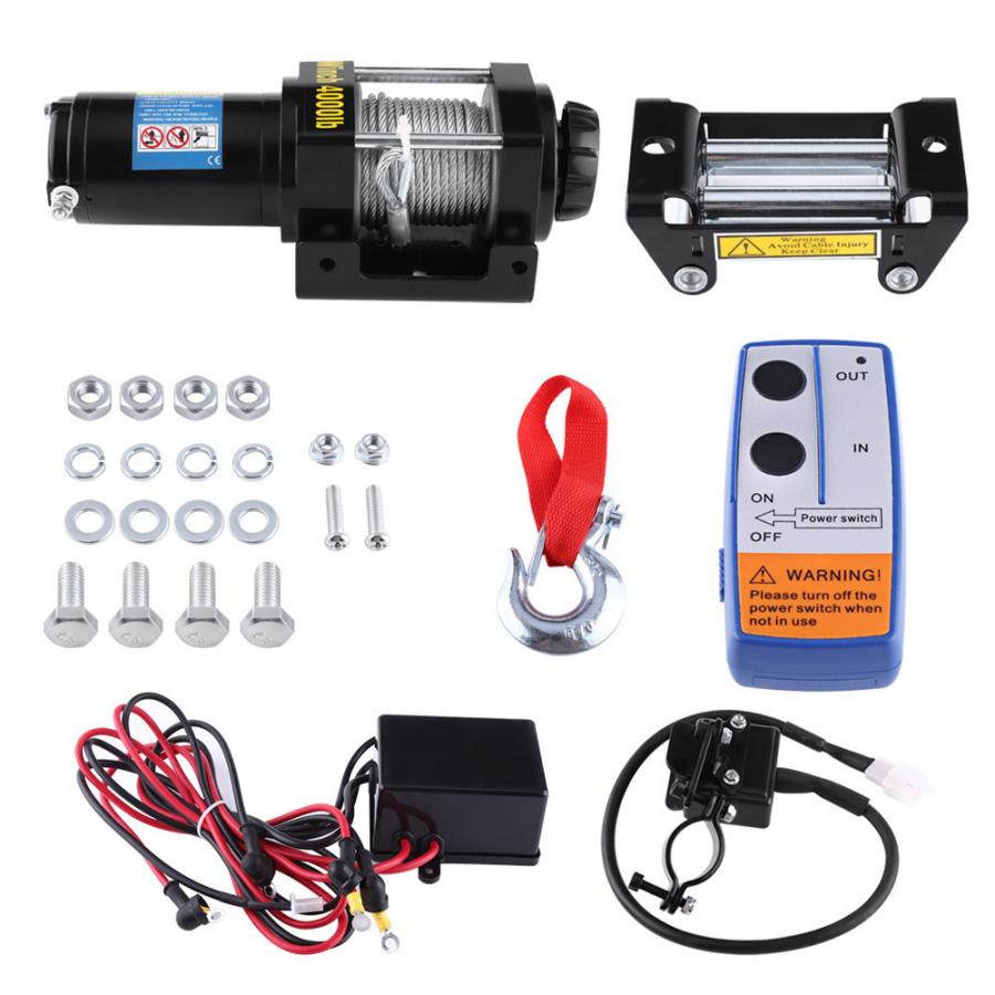 4000lbs Electric Recovery Winch Kit ATV Trailer Truck Car HIGH TENSILE STEEL Cable DC 12V Remote Control Winch Set Domestic Ship