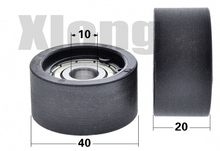 цена на 4PCS 10*40*20mm 6200zz Bearing Embedded Pulley Plastic Coated CNC Lathe Machining Pulley Roller Plane Guide Wheel