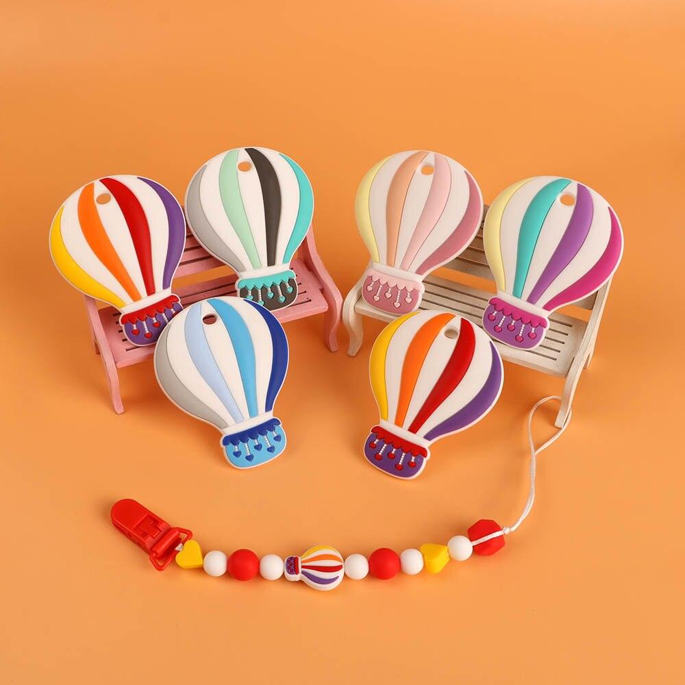 Kovict 1pcs Silicone Teethers  Cartoon Hot Air Balloon Shape BPA Free Tiny Rod Food Grade Silicone Baby Teethers Teething Toy