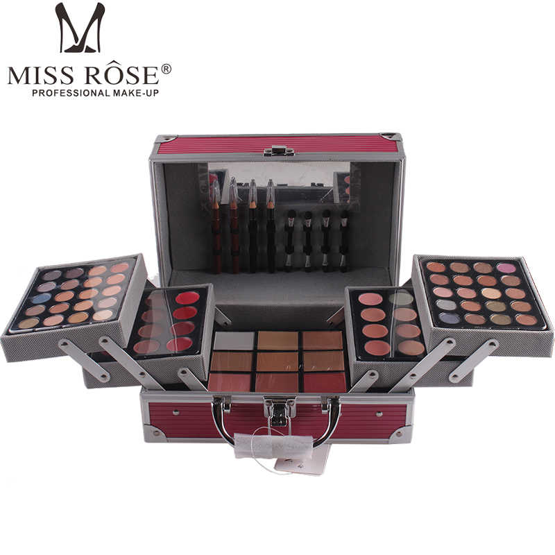MISS ROZEN Professionele make-up set Aluminium doos met oogschaduw blush contour poeder palet voor make-up artist gift kit 7007- 002