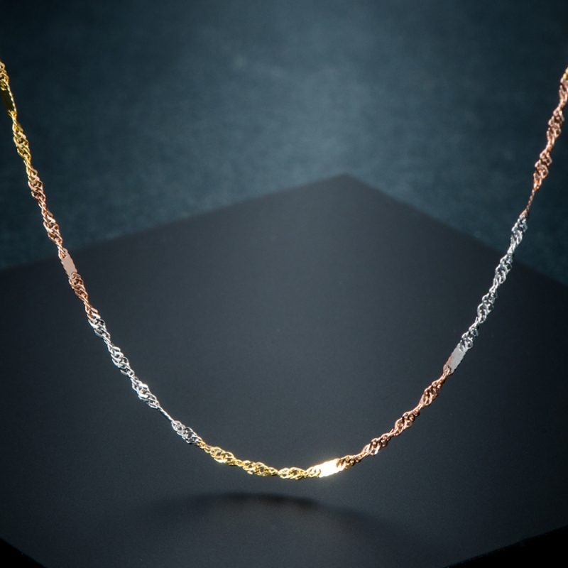 """Pure Solid 18K Gold Necklace Women Luck Special Singapore Link Chain 1mmW 16"""" 18"""" (18K Yellow / Rose / White / Multi-tone Gold) 3"""