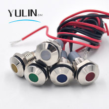 LED Metal Indicator Light 10mm IP67 Waterproof Indicator Light Pilot Signal Lamp with Wire Red Yellow Blue Green White(China)