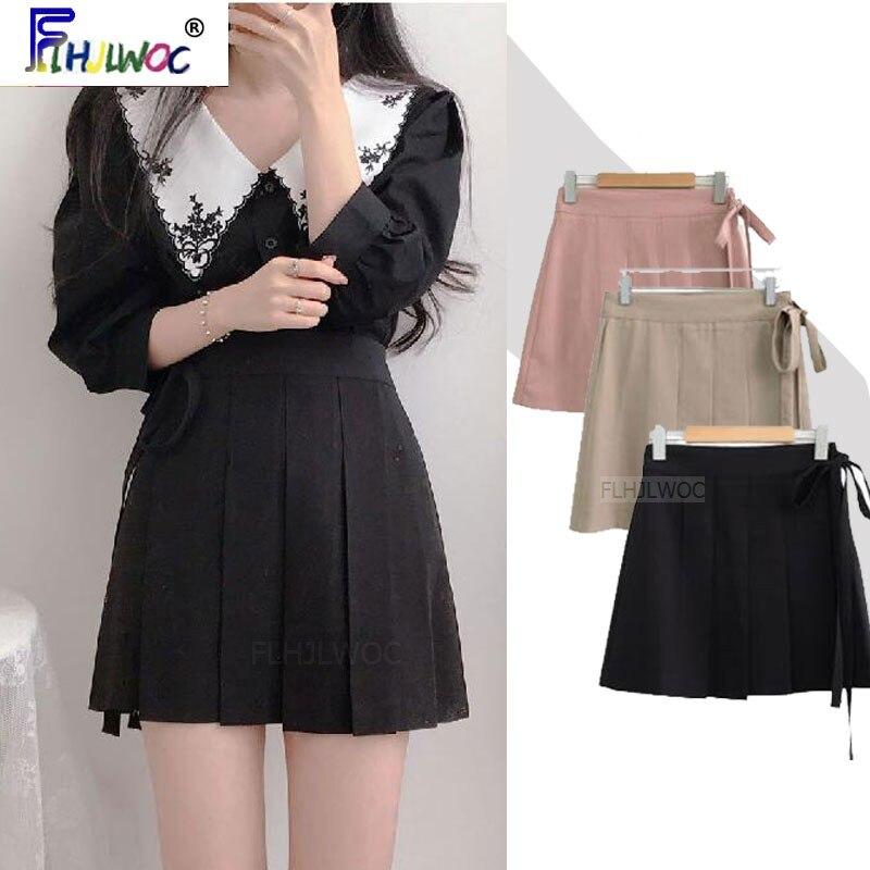 2020 Short Cute Mini Skirts Hot Sales Women Korean Japanese Flhjlwoc Preppy Style Girls White Black High Waist Pleated Skirt 422