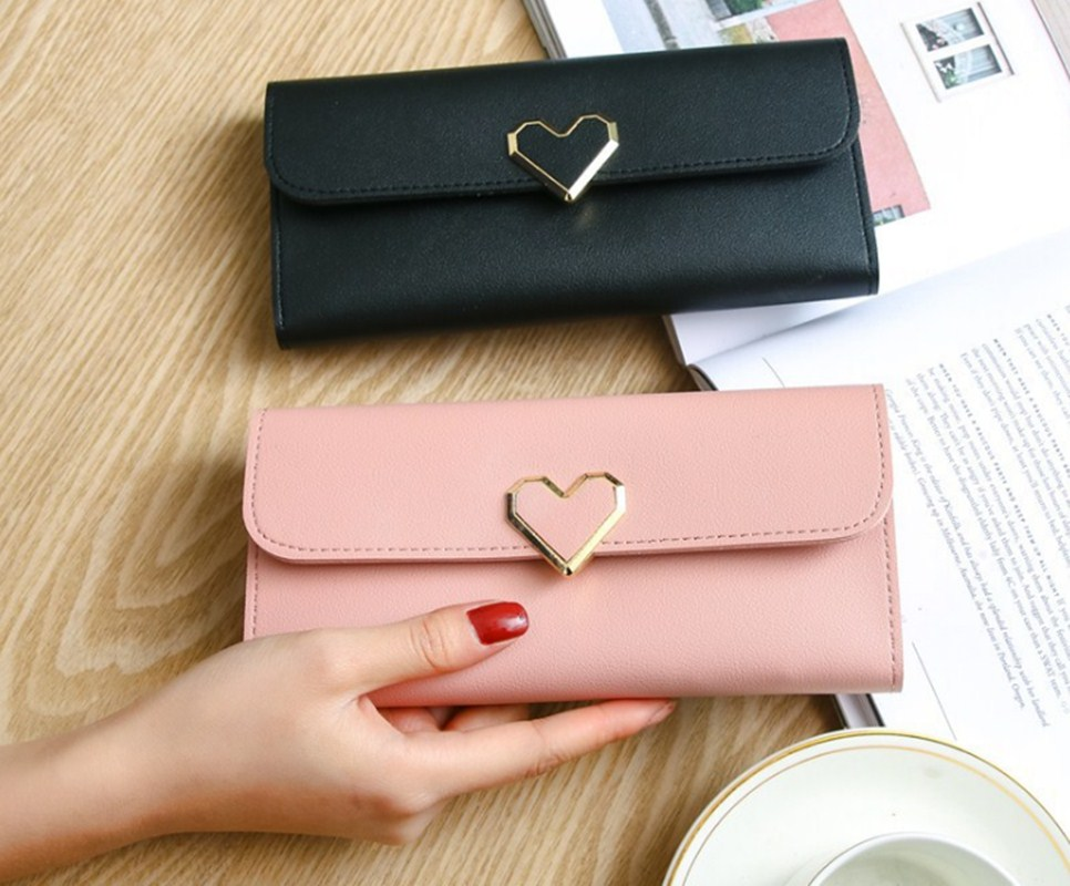 Women Long Wallets Purses Luxury Love Heart Wallets For Ladies Girl Money  Pocket Card Holder Female Wallets Phone Clutch Bag