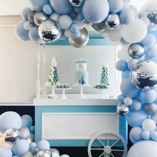 192 Uds globo arco mezclado azul blanco plata látex globo 4D redondo globo plateado decoración tira cadena para cumpleaños boda