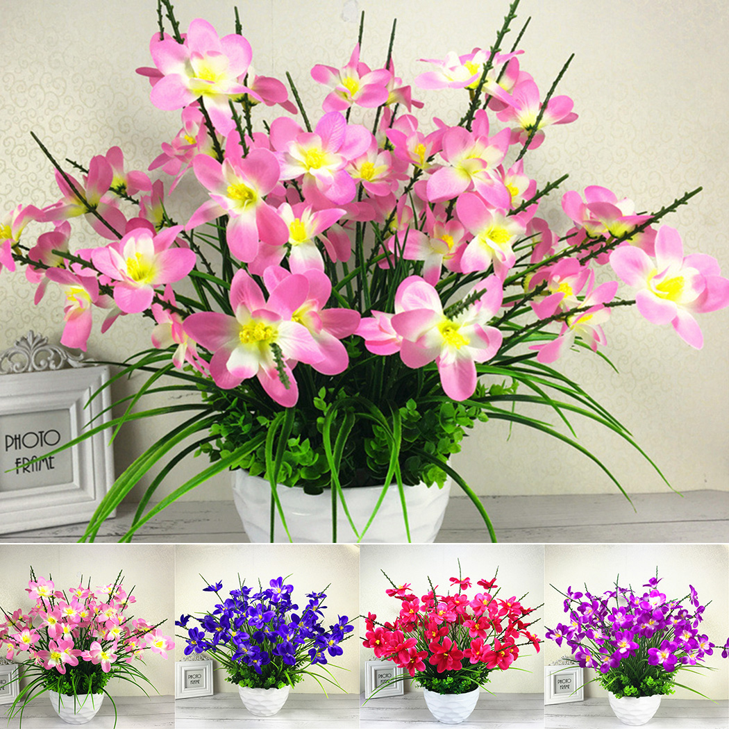Artificial Fake Butterfly Orchid Flower Plant Bouquet Home Party Deco-Pink