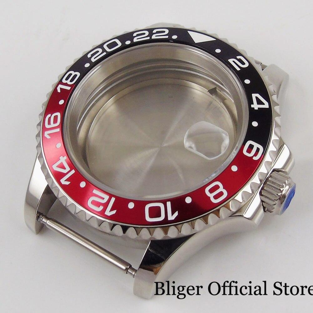 Caixa do Relógio de Vidro Safira Bidirecional Rotativo Bezel Liga Inserção Caber Eta 2836 Miyota Movimento 41mm