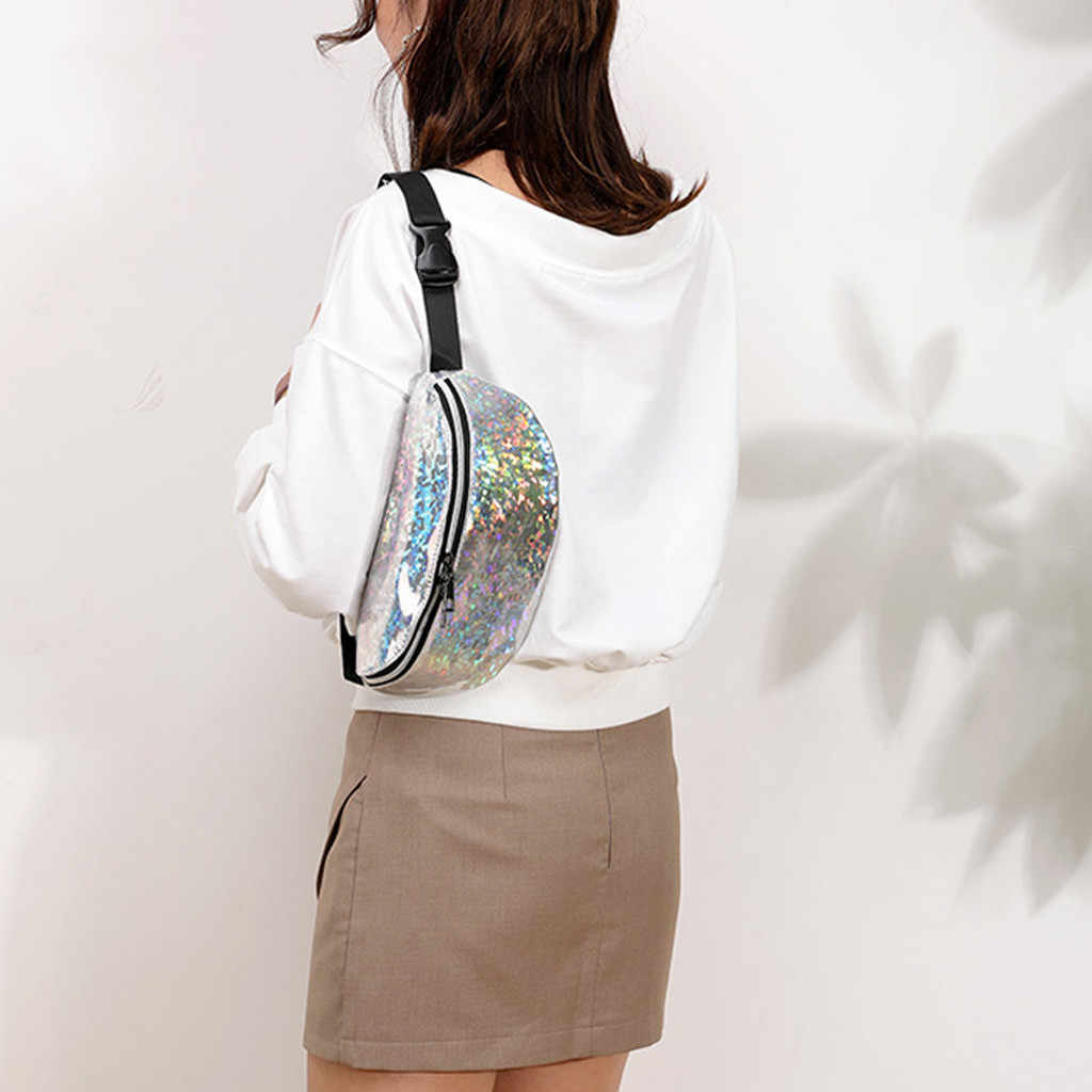 Moda mujer riñonera bolsa de cintura al aire libre cremallera lentejuelas láser riñonera monedero bolsa de pecho saco banane mujer nuevo