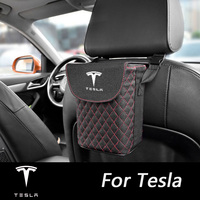 Car Portable Dustbin For Tesla Model 3 Model S Model X Auto Front Seat Back Leather Garbage Cans Storage Organizers Accessoires