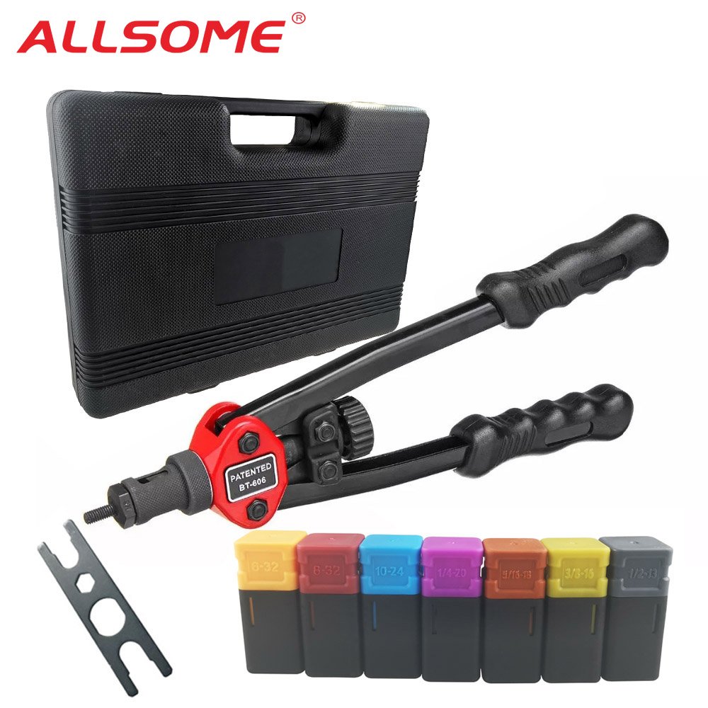 ALLSOME Rivet Nut Guns Auto Riveter Tool BT-606 Riveter Nut tool Hand Insert Rivet Nut Tool Manual Mandrels 6-32 8-32 BT-605