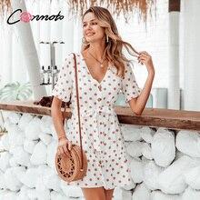Commoto ヴィンテージフリルホワイトポルカドットドレス女子ショートビーチドレス夏 2020 ドレスの女性カジュアルボタンドレス vestidos