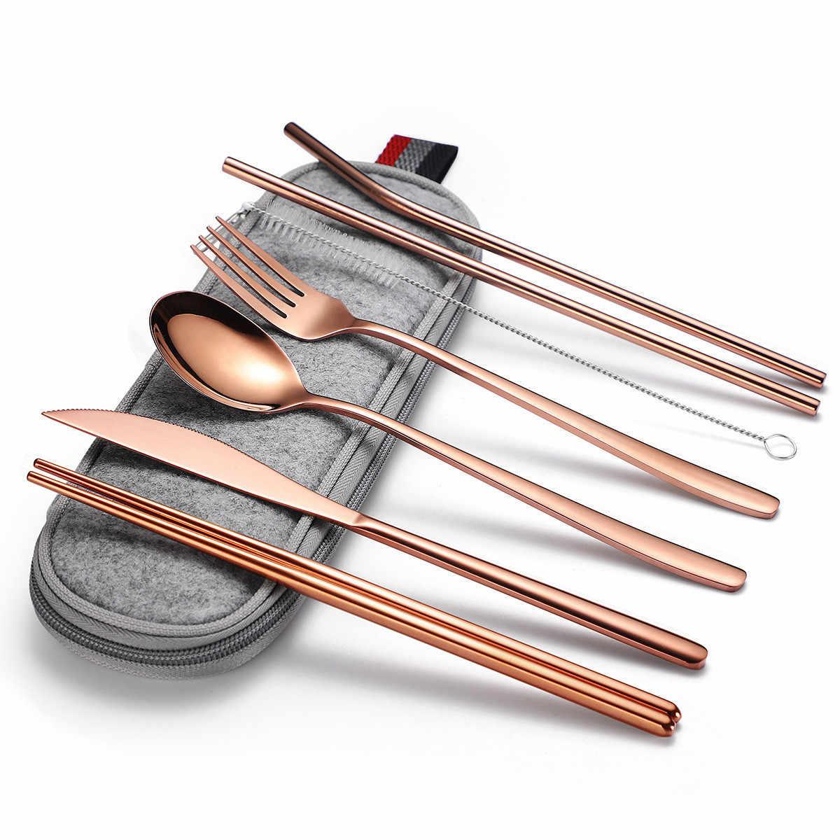 Conjunto de talheres de aço inoxidável de viagem preto garfo faca pauzinho conjunto de talheres conjunto de talheres de viagem arco-íris conjunto de talheres portátil