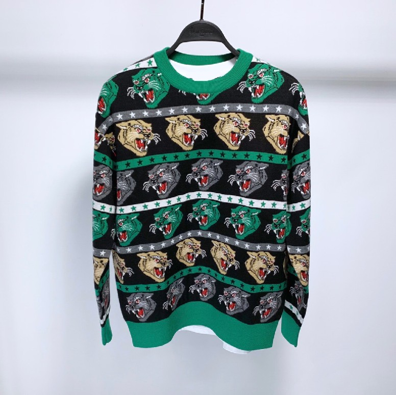 New 19 Men Luxury Embroidered Leopard Cat Striped Stars Knit Casual Sweaters Cardigan Asian Plug Size High Quality Drake #N74
