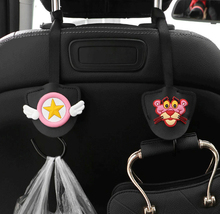 1pc Universal Car Seat Back Hidden Hook Cartoon PU Leather Hanging Storage Holder Auto Interior Accessories