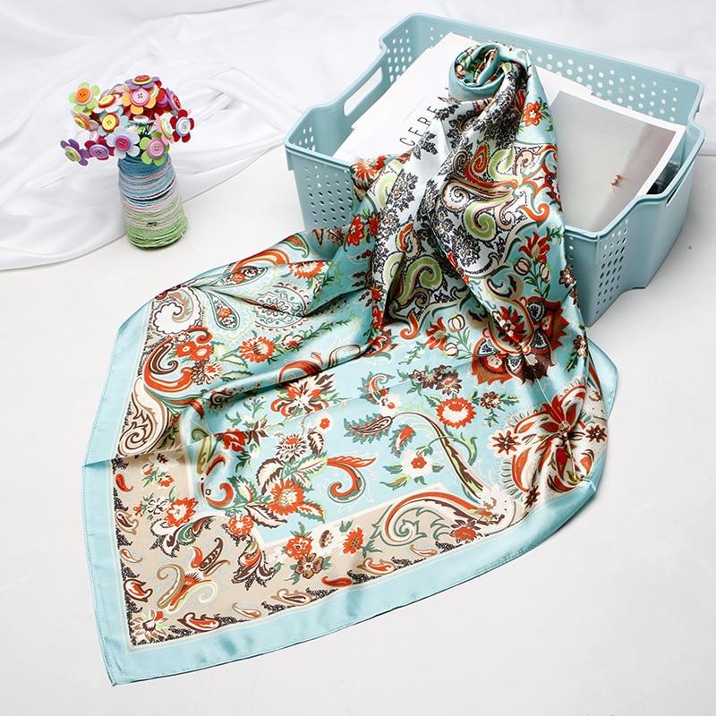Fashion Kerchief Silk Satin Hijab Scarf For Women Bandana Head Floral Print Bag Scarfs 90cm*90cm Square Neck Scarves For Ladies Women