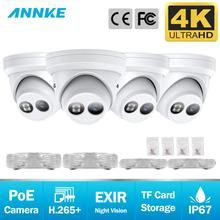 ANNKE 4PCS Ultra HD 8MP POE Camera 4K Outdoor IP67  Weatherproof Security Network Dome EXIR Night Vision Email Alert CCTV Kit