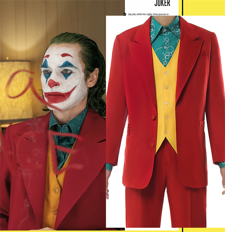2019 Movie Halloween mens Joker Arthur Fleck costume Joaquin Phoenix role play red suits role play clothings