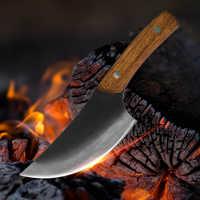XYj 5.5 ''Forgiato A Mano In Acciaio Al Carbonio Ad Alta Tagliere Coltello Pieno Tang Macellaio Osso di Carne di Pollo Utensili Da Cucina di Stile Cinese