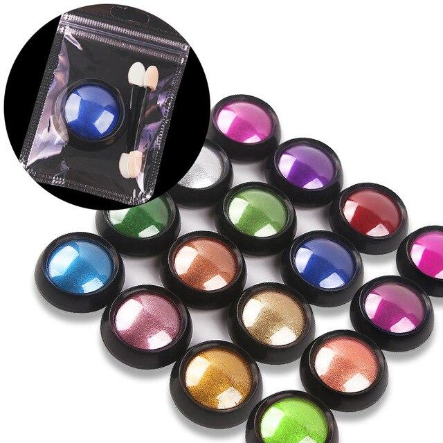0.5g ongle miroir paillettes poudre métallique couleur Nail Art UV Gel polissage Chrome flocons Pigment poussière décorations manucure bouffée