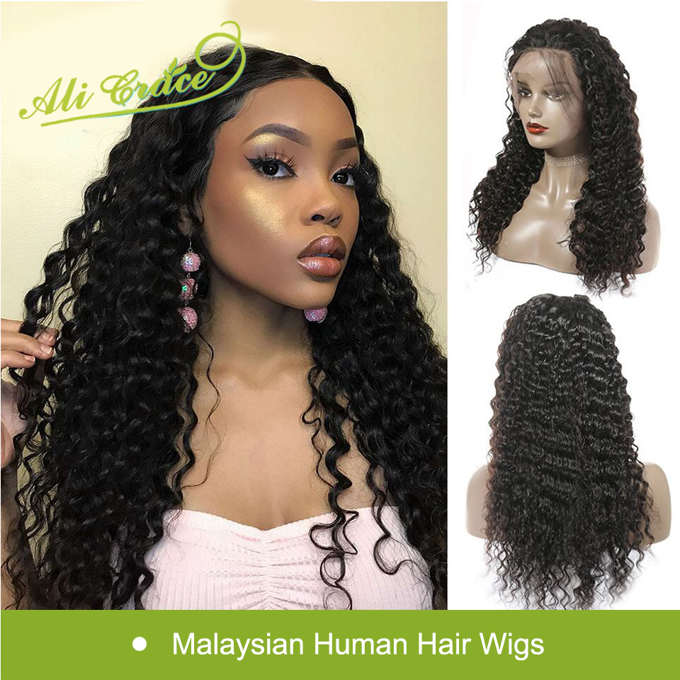 Ali Grace Deep Wave Lace Front Human Hair Wigs For Women With Baby Hair Pre Plucked