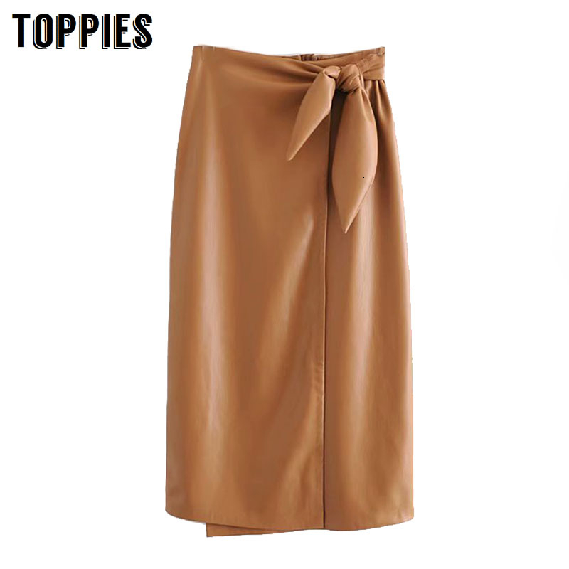 High Waist Faux Leather Skirs Womens Lace-up Waist Long Skirts Laides Office Faldas Strretwear