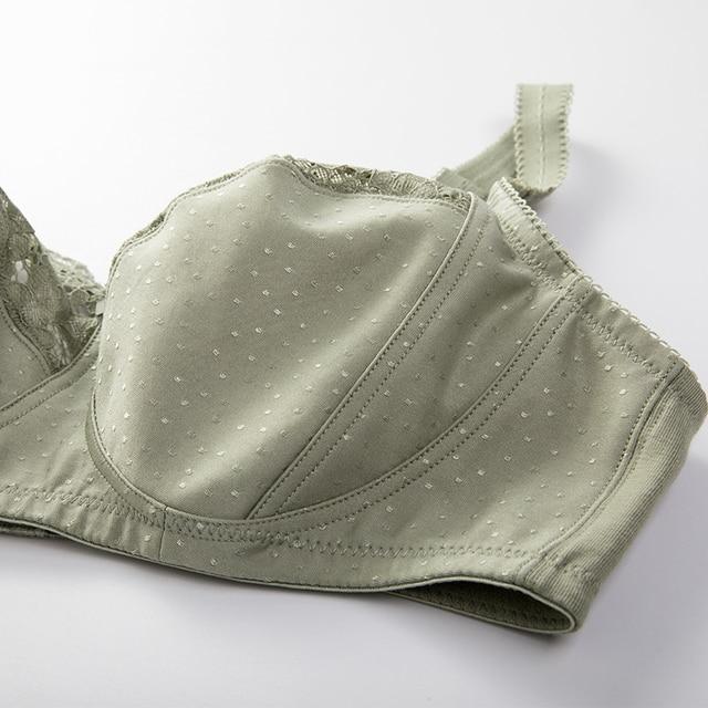 Women's Full Coverage Lace Wireless Non-padded Cotton Bras 36-48 C D DD E F G 4