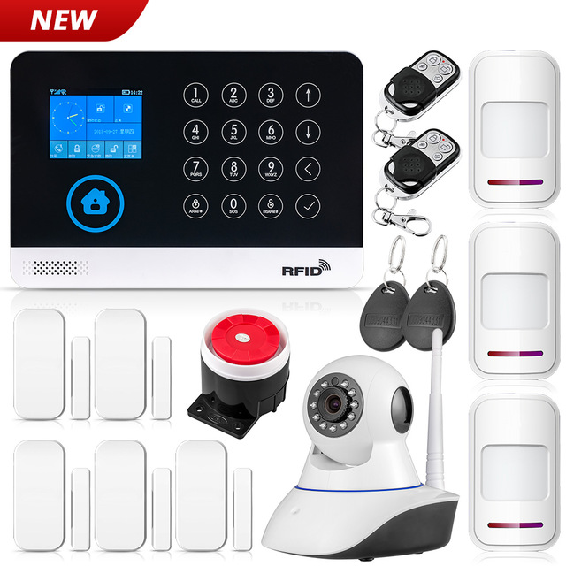 2019 New FUERS WG11 WIFI GSM Wireless Home Security Alarm System APP Control Siren RFID PIR Motion Detector Smoke Sensor DIY Kit