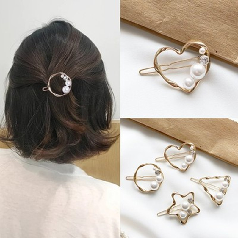 Fashion Woman Elegant Geometric Pearl Hairpins Alloy Barrettes Handmade Pearl Flowers Girls Hair Accessories Hair Grips Headwear