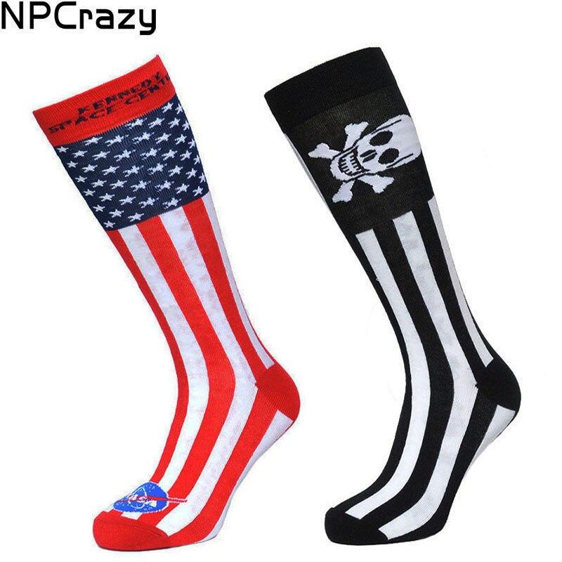 Socks Men Sport Sock Striped With Prints Skeleton American Flag Novelty Socks Skull Strip Long Sock Knee High Crew Sox For Men
