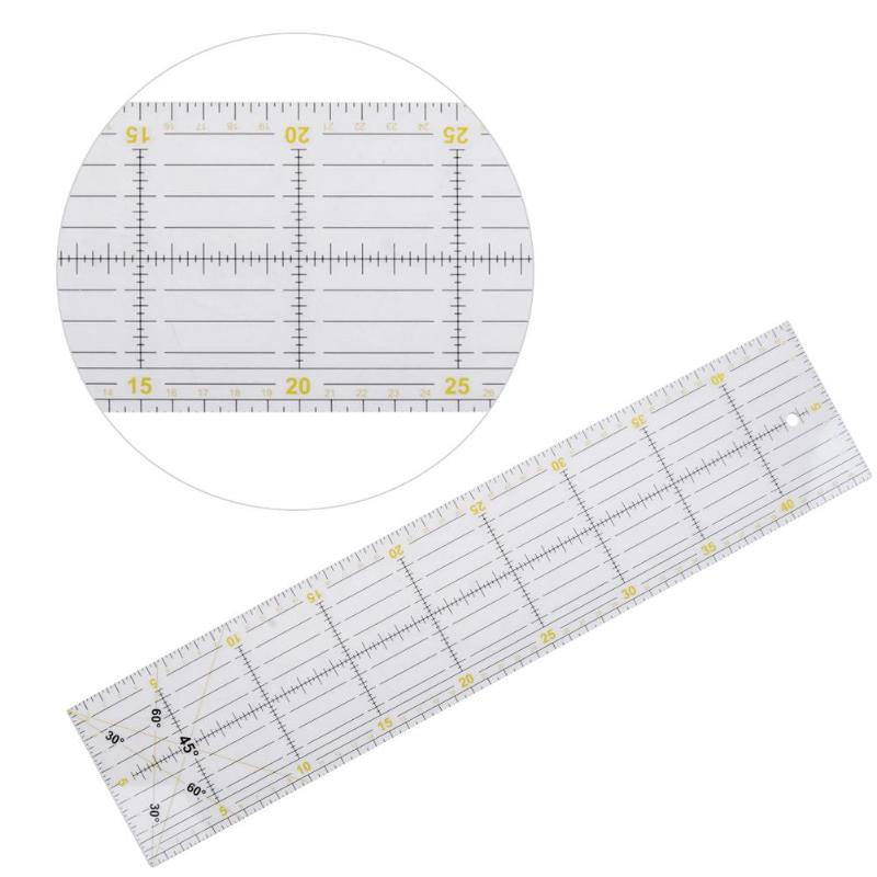 DIY Handmade Patchwork Feet Tailor Quilting Tools 10x45cm Acrylic Material Patchwork Measuring Ruler Seam Sewing Scale Rulers