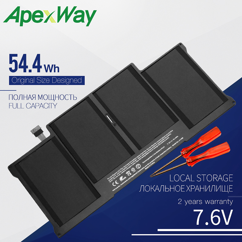 7.6V 54.4WH ApexWay Laptop Battery A1405 For Apple Macbook Air 13 A1466 Battery A1496 2013 2014 2015 Yea image