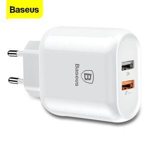 Image 1 - Baseus شحن سريع QC 3.0 المزدوج USB شاحن الهاتف آيفون X 8 العالمي السفر الجدار USB شاحن لسامسونج S9 شاومي الاتحاد الأوروبي التوصيل