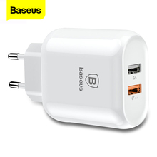 Baseus Quick Charge QC 3.0 Dual USB Phone Charger For iPhone X 8 Universal Travel Wall USB Charger For Samsung S9 Xiaomi EU Plug